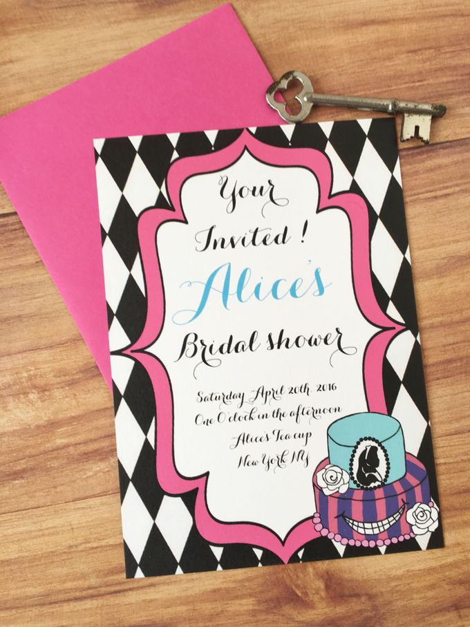 Alice in wonderland bridal shower invitations by Fancy Paperie - 003