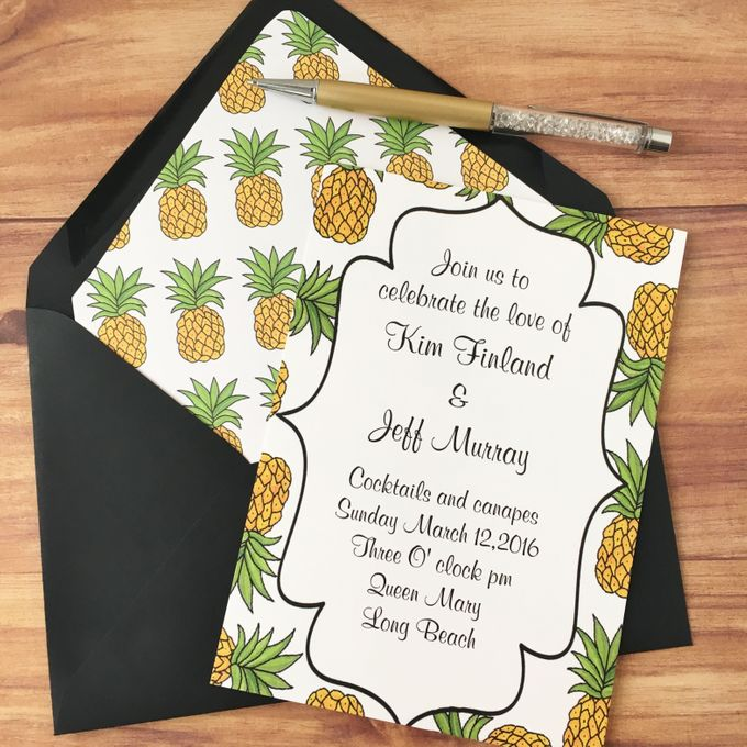 Pineapple wedding invitation suite by Fancy Paperie - 002