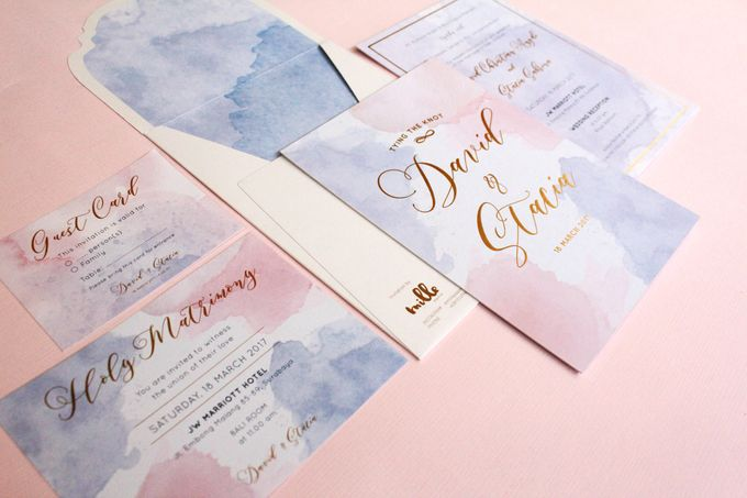 Rose Quartz & Serenity Watercolor Invitation by Mille Paperie - 001