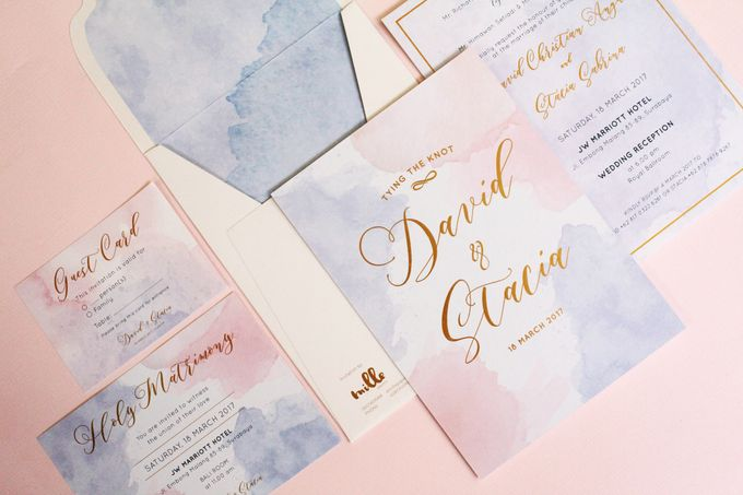 Rose Quartz & Serenity Watercolor Invitation by Mille Paperie - 002