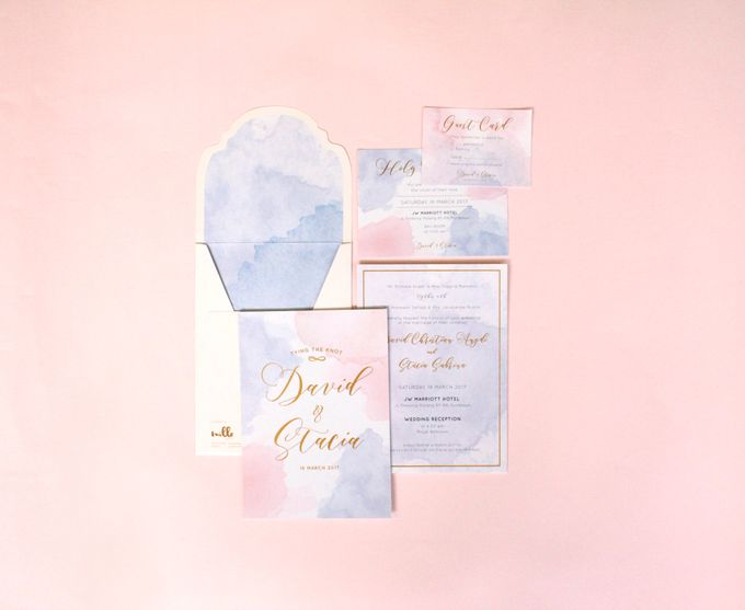 Rose Quartz & Serenity Watercolor Invitation by Mille Paperie - 003