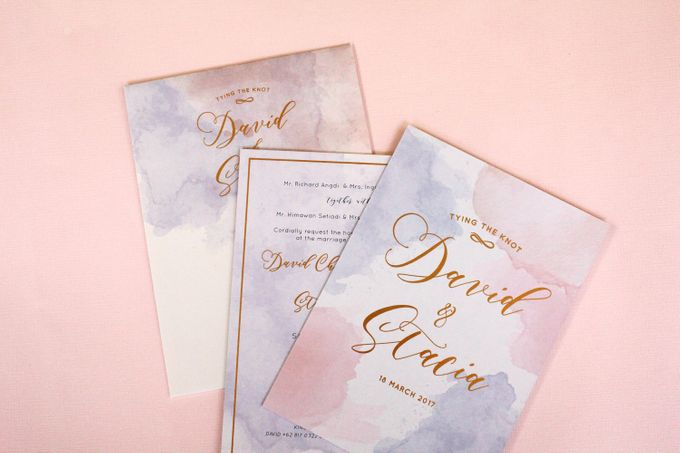 Rose Quartz & Serenity Watercolor Invitation by Mille Paperie - 005