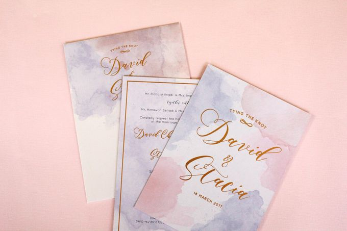 Rose Quartz & Serenity Watercolor Invitation by Mille Paperie - 004