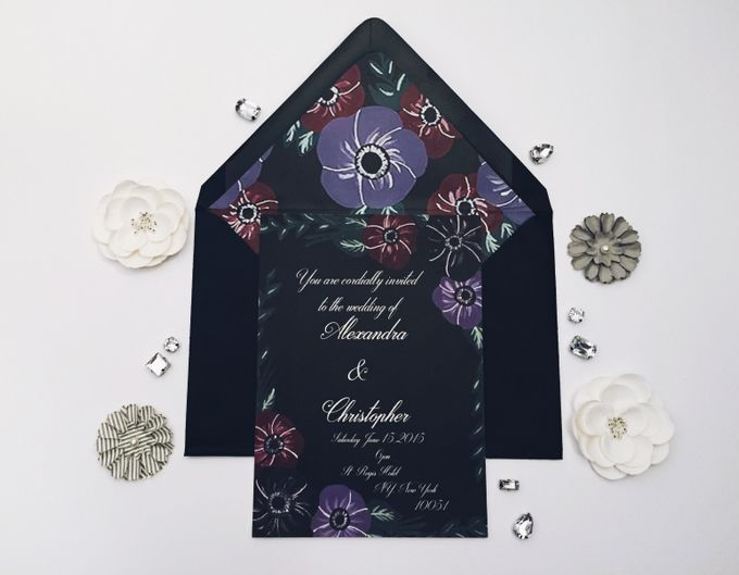 dark floral wedding invitation with matching envelope liner by Fancy Paperie - 001
