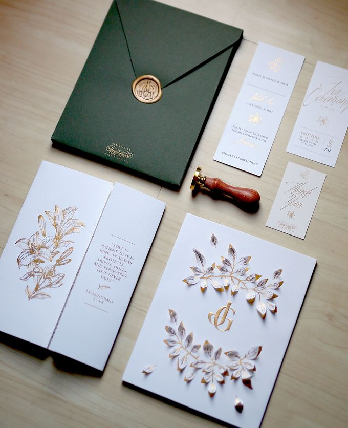 Gold Leaves by Forget Me Not Invitation - 003