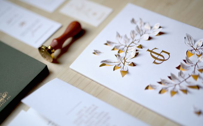 Gold Leaves by Forget Me Not Invitation - 004