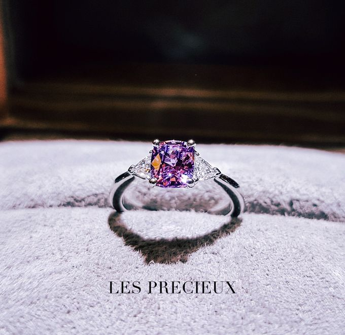 CUSHION PINK SAPPHIRE WITH TRILLIONS ENGAGEMENT RING by LES PRECIEUX - 001