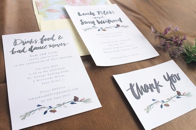 Leah & Sam in Burgundy and Navy Floral Vine by Meilifluous Calligraphy & Design - 005