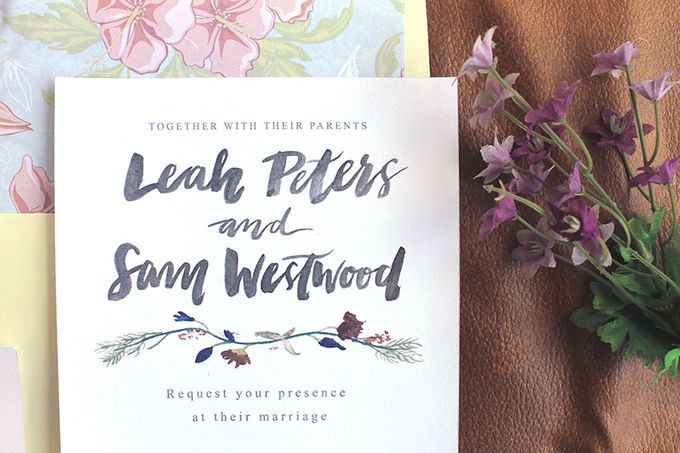 Leah & Sam in Burgundy and Navy Floral Vine by Meilifluous Calligraphy & Design - 006