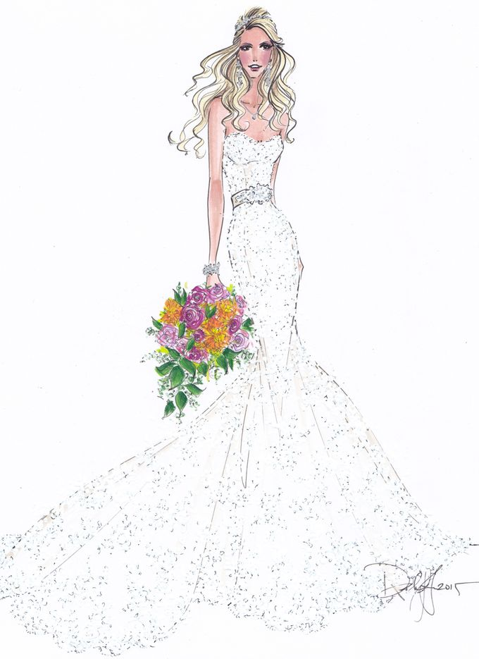 Custom frontals bridal illustration by Illustrative Moments - 011