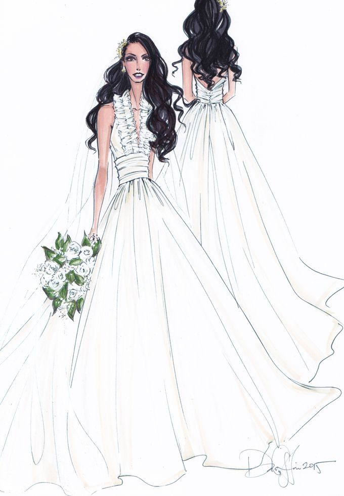 Custom frontal with back view bridal illustration by Illustrative Moments - 003