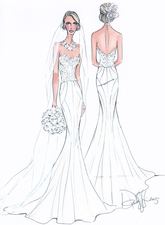 Custom frontal with back view bridal illustration by Illustrative Moments - 005