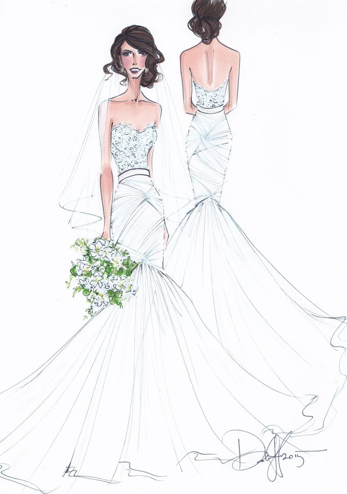 Custom frontal with back view bridal illustration by Illustrative Moments - 006