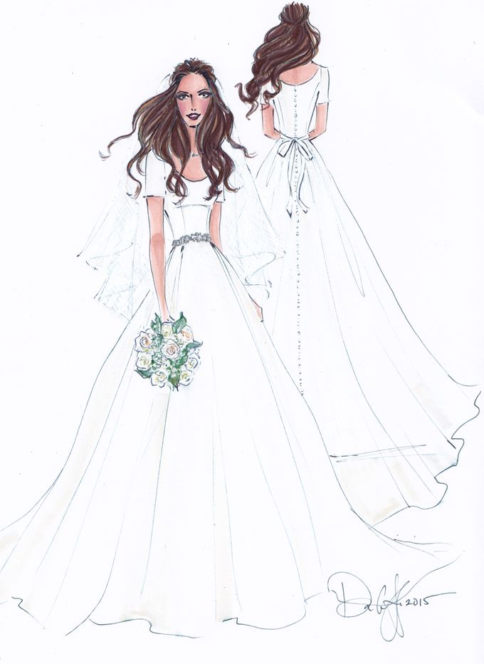 Custom frontal with back view bridal illustration by Illustrative Moments - 007
