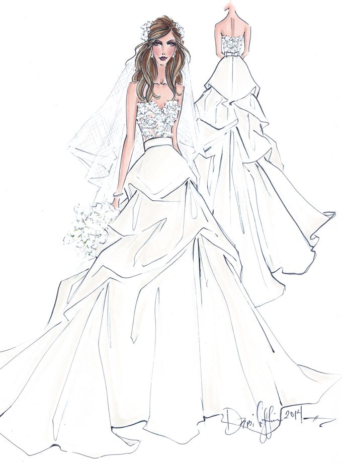 Custom frontal with back view bridal illustration by Illustrative Moments - 032