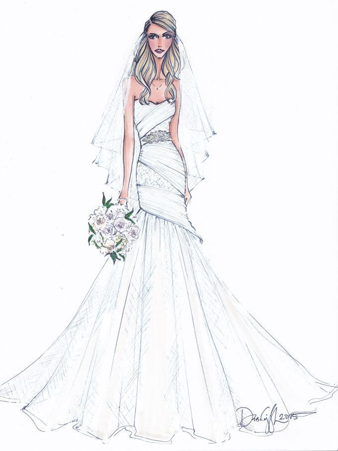 Custom frontals bridal illustration by Illustrative Moments - 027
