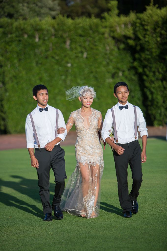 Fashion forward couple's destination wedding at The Montecito Country club in Santa Barbara, California by Kiel Rucker Photography - 025