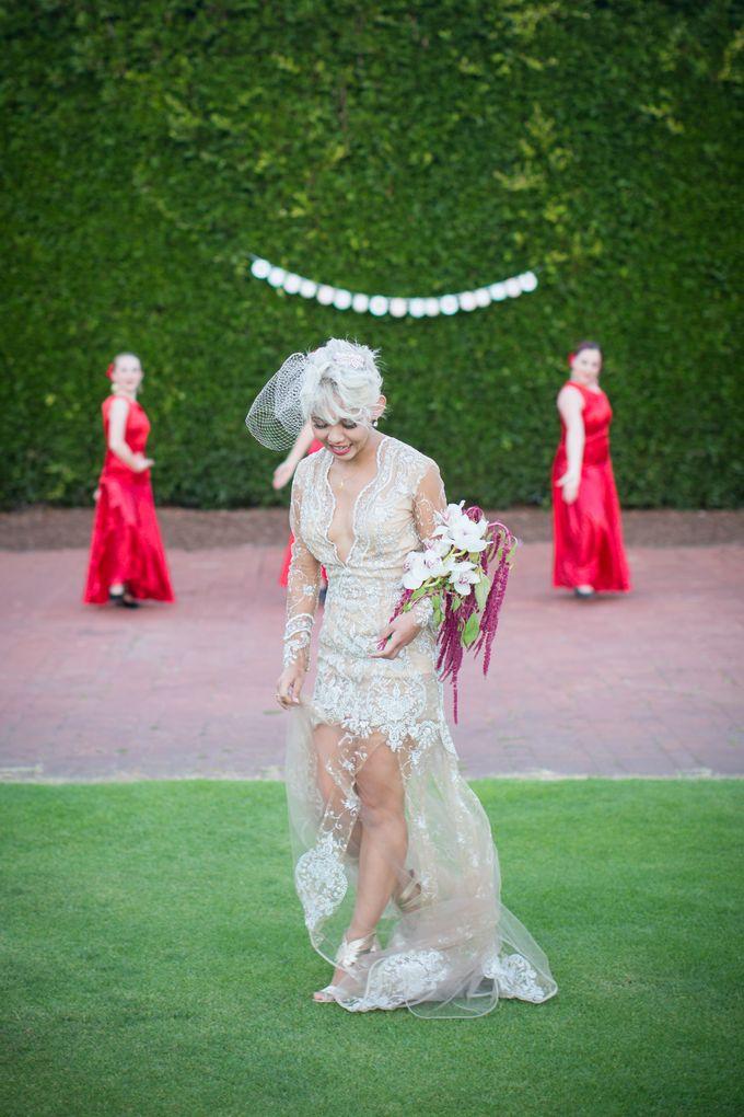 Fashion forward couple's destination wedding at The Montecito Country club in Santa Barbara, California by Kiel Rucker Photography - 039