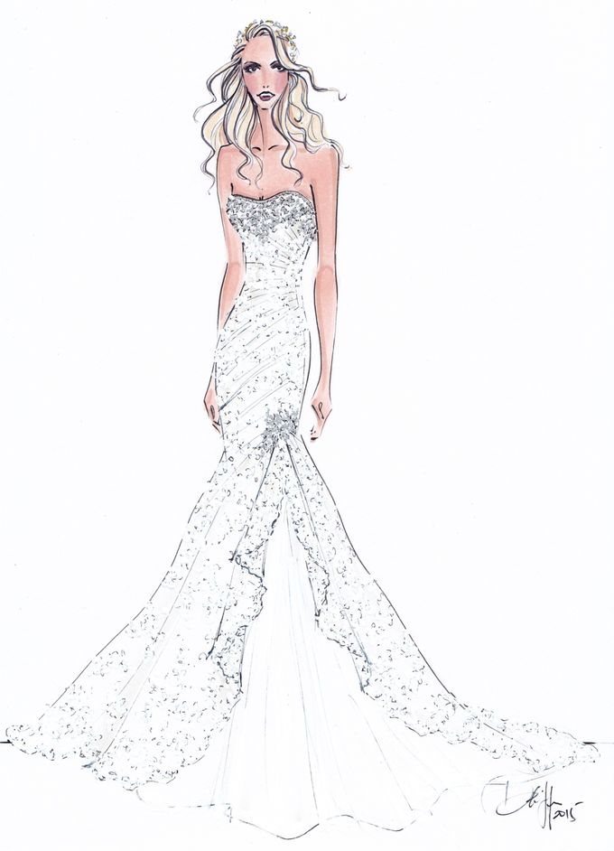 Custom frontals bridal illustration by Illustrative Moments - 009