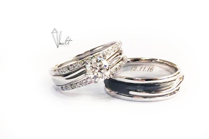 J & JQ Solitaire Proposal Ring & Wedding Bands by Vault Fine Jewellery - 003