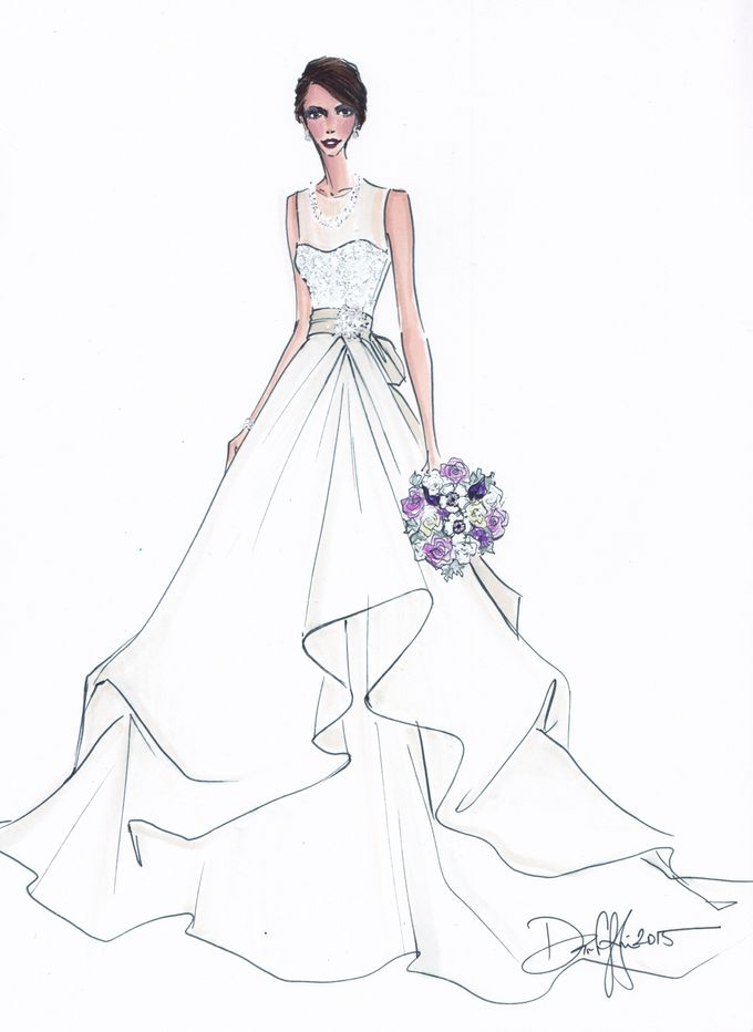 Custom frontals bridal illustration by Illustrative Moments - 026
