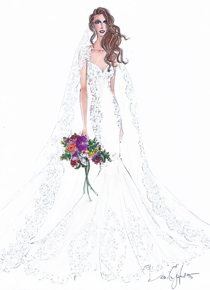Custom frontals bridal illustration by Illustrative Moments - 008