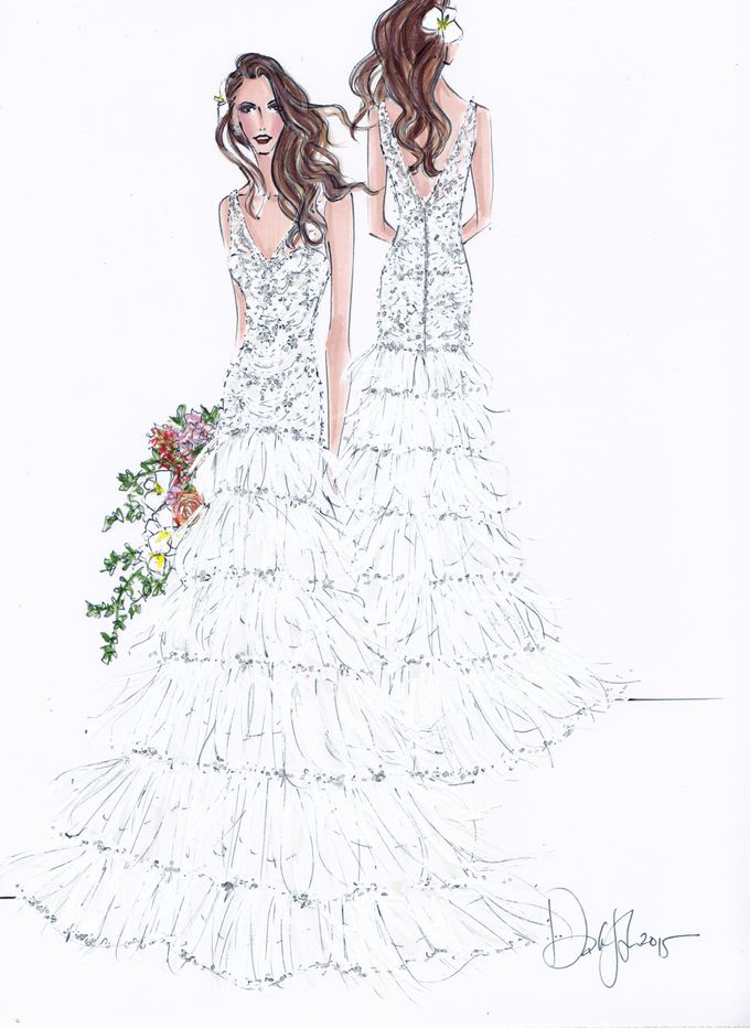 Custom frontal with back view bridal illustration by Illustrative Moments - 008