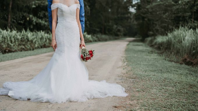 Off shoulder mermaid gown by Kelly's Bridals - 014