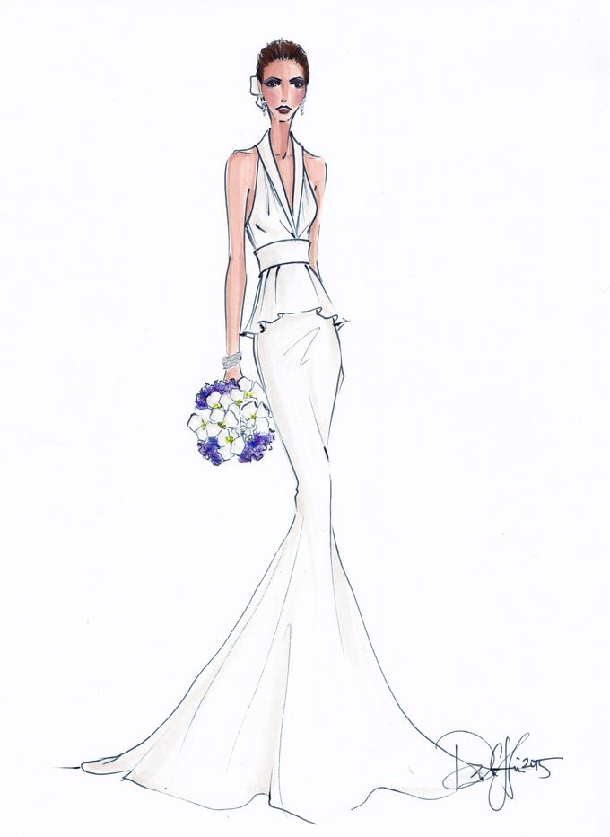 Custom frontals bridal illustration by Illustrative Moments - 020