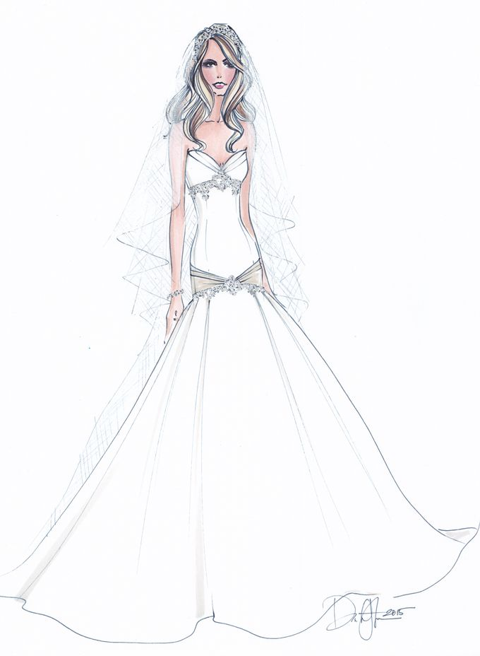 Custom frontals bridal illustration by Illustrative Moments - 023