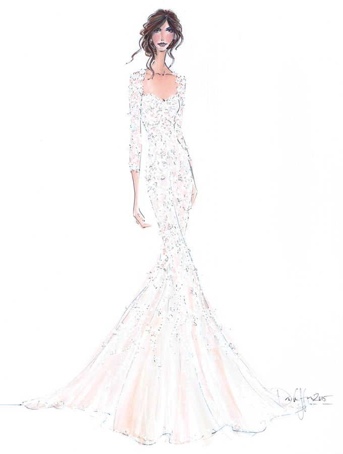 Custom frontals bridal illustration by Illustrative Moments - 022