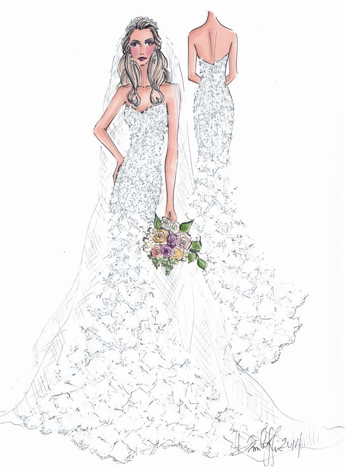 Custom frontal with back view bridal illustration by Illustrative Moments - 028