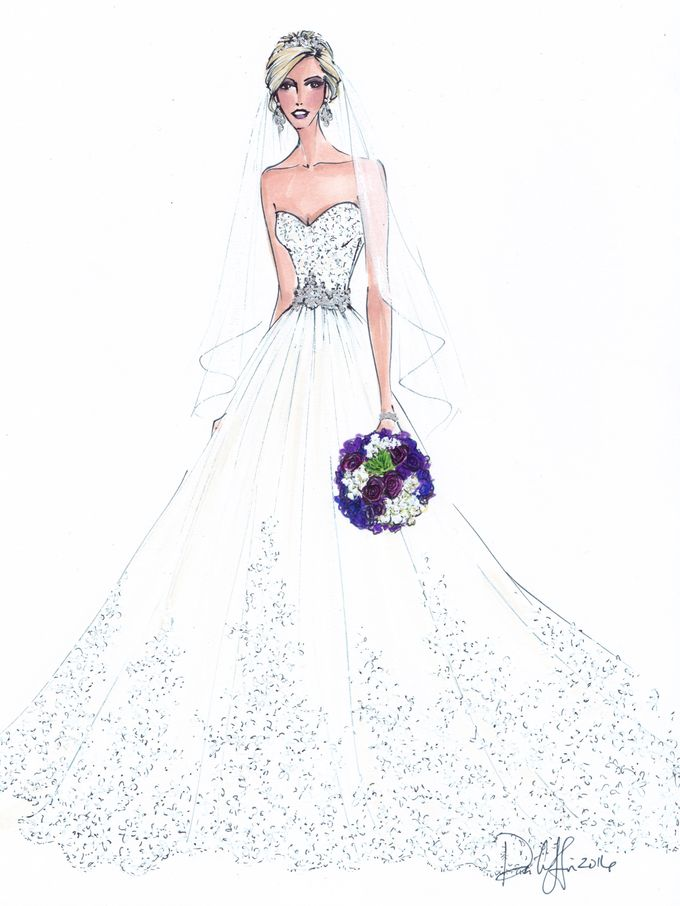 Custom frontals bridal illustration by Illustrative Moments - 006