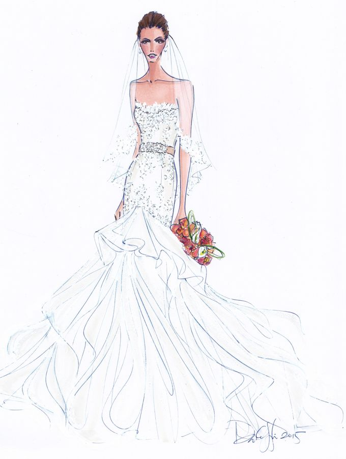 Custom frontals bridal illustration by Illustrative Moments - 017