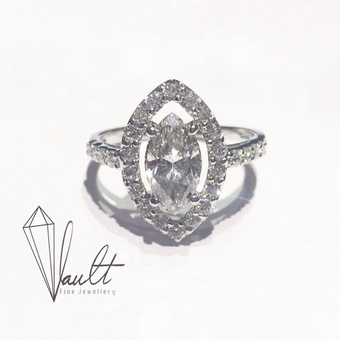 Classic Marquise Halo Proposal Ring by Vault Fine Jewellery - 001
