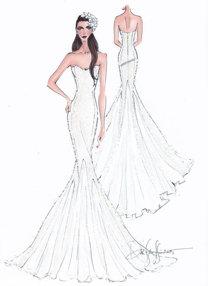 Custom frontal with back view bridal illustration by Illustrative Moments - 021