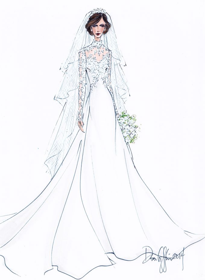 Custom frontals bridal illustration by Illustrative Moments - 033