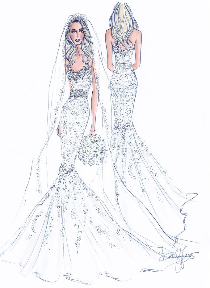 Custom frontal with back view bridal illustration by Illustrative Moments - 017