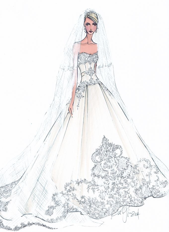 Custom frontals bridal illustration by Illustrative Moments - 029