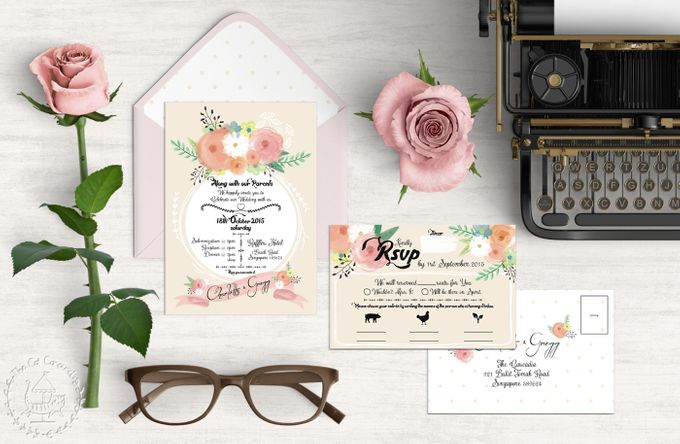 Painterly Floral Wedding Kit by The Cat Carousel - 001