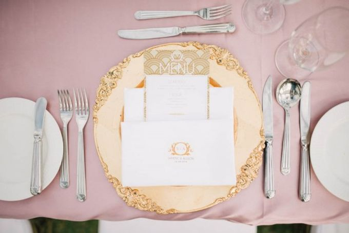 Gatsby-Inspired Gold and Glamorous Beach Wedding by The Paper Bunny - 001