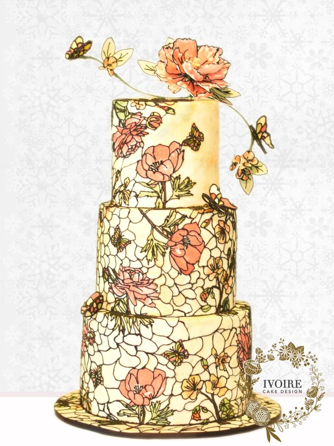 Three Tier Hand Painted Stained Glass by Ivoire Cake Design - 001