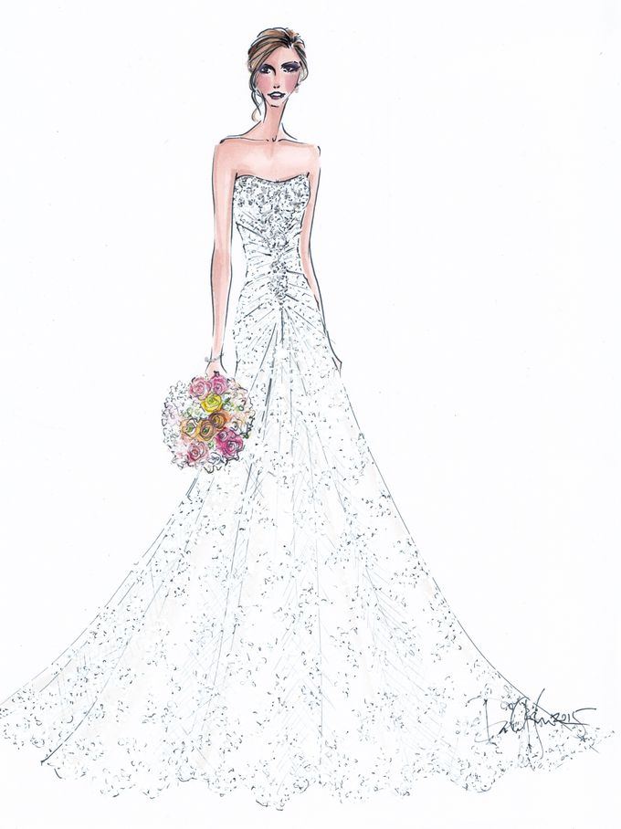 Custom frontals bridal illustration by Illustrative Moments - 018