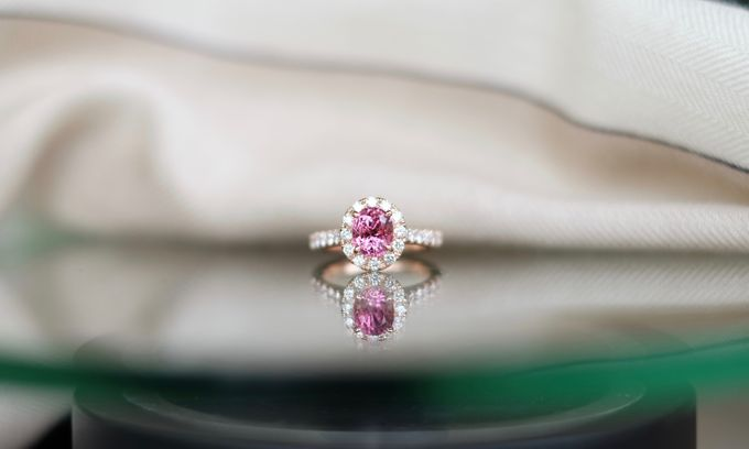 Pink Spinel Bespoke Engagement Ring by Heritage Gems Singapore - 003