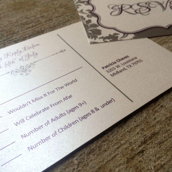modern die cut trifold purple silver damask wedding invitation by