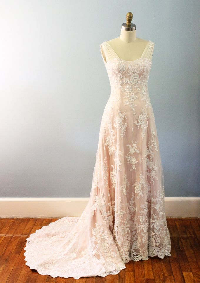 5e76e9c24 Add To Board Vintage Inspired Beaded Lace Wedding Dress with Draping Pearls  by Desiree Spice - 002