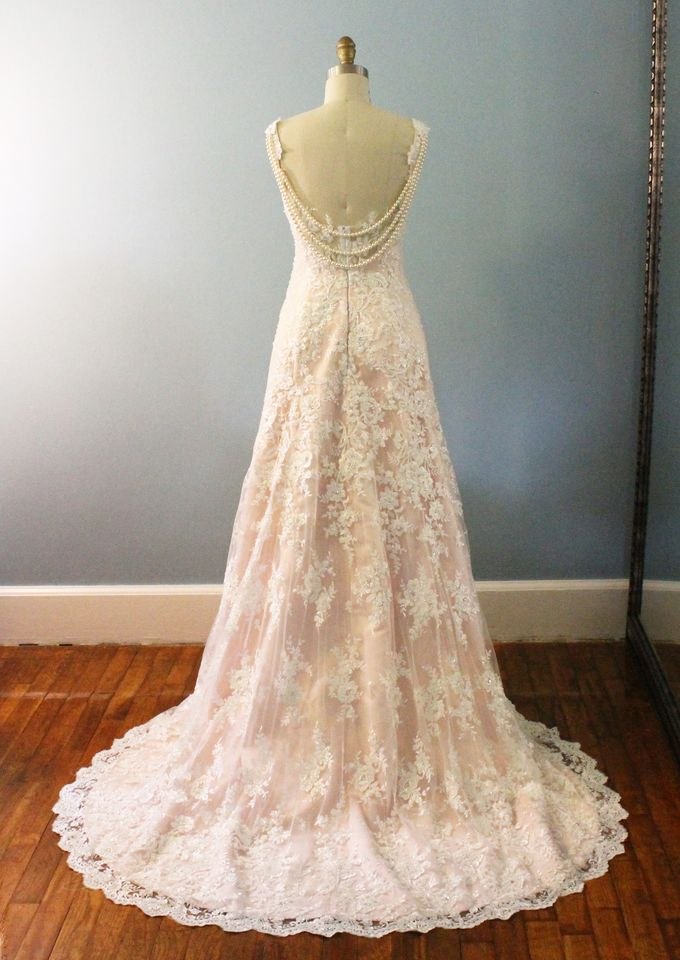 Vintage Inspired Beaded Lace Wedding Dress with Draping Pearls by Desiree Spice - 004