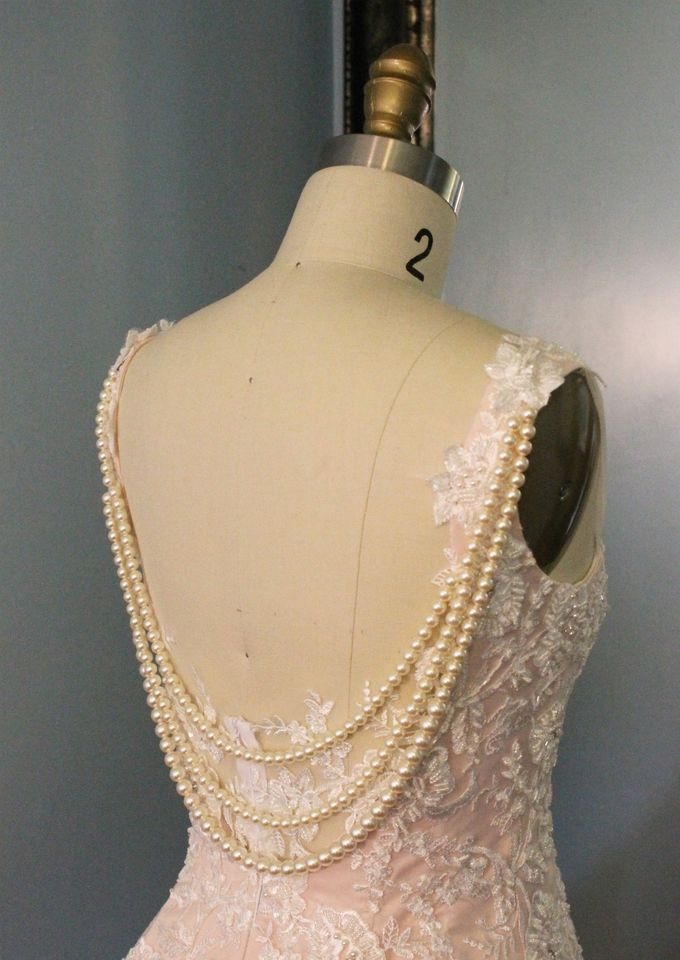 Vintage Inspired Beaded Lace Wedding Dress with Draping Pearls by Desiree Spice - 001