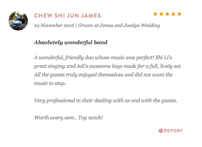 Testimonials from Wedding Couples by Merry Bees Live Music - 032