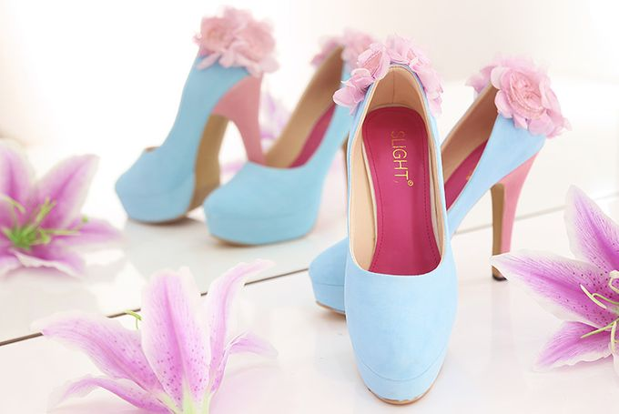 SLIGHT SEPATU LUKIS PLATFORM POMPOM BIRU PINK by SLIGHTshop.com - 003